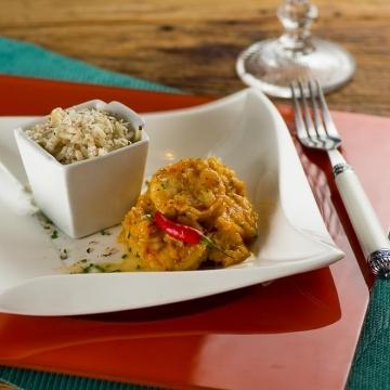 Bobó de camarão com arroz de castanha do Pará